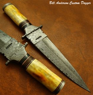 Bill Andersons Exquisite RARE 1 of A Kind Custom Damascus Art Dagger