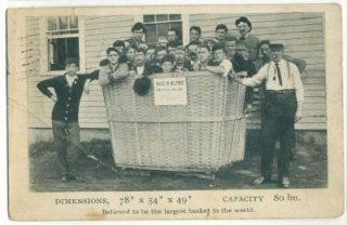 Milford New Hampshire Hawkins Mfg. Corp Worlds Largest Basket postcard