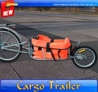 Steel Bicycle Cargo Trailer One Wheel Cart Carrier Orange Trailers