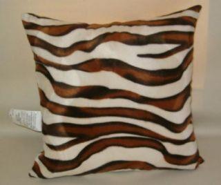 Animal print zebra throw pillow, faux fur, brown ivory 18 X 18