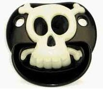 Pirate Billy Bob Pacifier Baby Black White Skull Cross Bone Glows