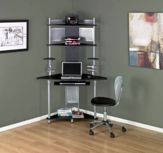 Calico Designs Arch Corner Tower Desk Silver Black