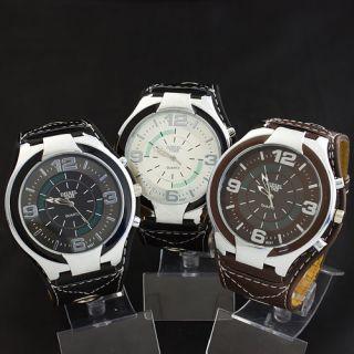Exclusive Big Dial Design Leatheroid Band Mens Boys Quartz Wrist Watch
