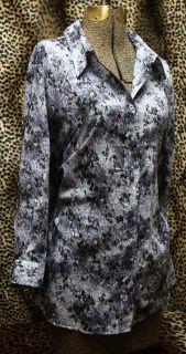 Coldwater Creek Purples Black Floral Button Down Plus Size Top XL 18