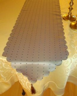 Taupe w Black Dots Table Runner Dressers Scarf