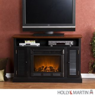 Savannah Black ELECTRIC Fireplace Media Center TV Stand Storage Holly