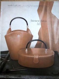 1953 Bienen Davis Calf Leather Purse Handbag Color Ad