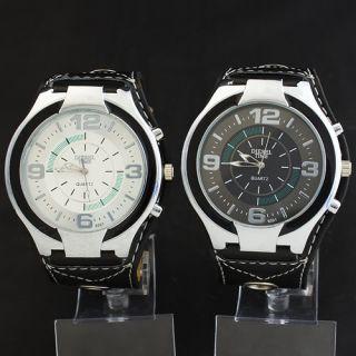 Sports 2PCS Mens Black Leatheroid Band Quartz Big Dial Wrist Watch TJE