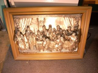 Metal High Relief Depiction Of The Last Supper Framed Silver