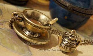 Elegant Antique Bronze Coffee Cup Tea Pot Retro Style Pendant Necklace