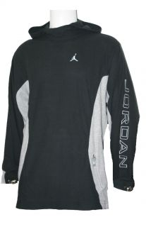 New Mens Nike Air Jordan Basketball Black Grey Hooded Sweater Jumper M