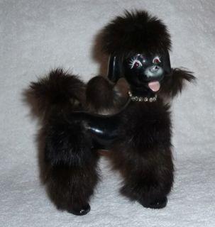 Vintage 1950s Poodle Dog Figurine Black Fur Rhinestones Amazing RARE
