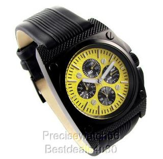 Brand New Guess Mens Watch Black Steel Race Car Yellow Collection RARE