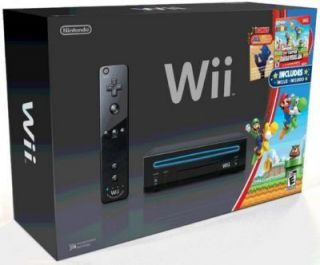 Brand New Nintendo Wii Black System with Mario Brothers Wii and Music