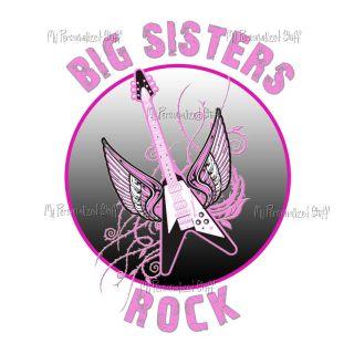 Personalized Big Sister Girl Guitar Sibling T Shirt Tee
