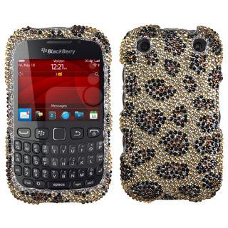 Blackberry 9310 Curve Case Cover Bling Rhinestone Leopard Skin Camel