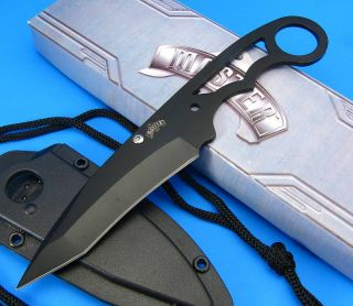 Master Cutlery Black Fixed Blade Full Tang Skeletonized Neck Knife w