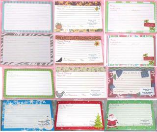 Blank Recipe Cards Bird Heart Stripe Tree Dots Flower Snowman Candy