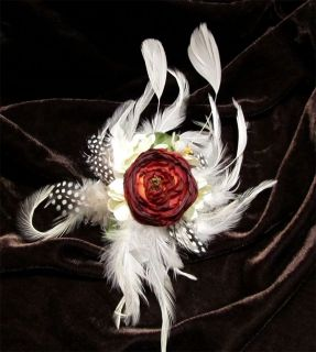 Handmade Unique Bridal Feather Flower Hair Clip Pin