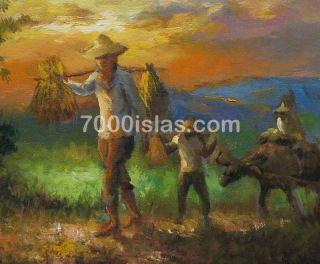 Binhi NG Bigas 12x16 Philippine Folk Art Oil Painting Amorsolo Free