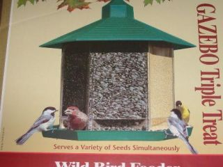 Perky Pet Triple Treat Gazebo Wild Bird Seed Garden Feeder Yard New