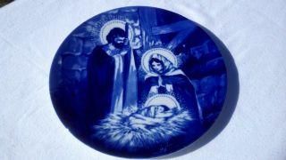 Avon 1991 Christmas Collectors Plate The Holy Family Manger Scene Blue