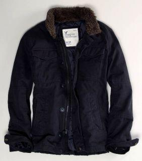 New American Eagle FX Fur Collar Military Field Jacket Coat Black Men