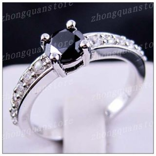 Sz8 Jewellery Bland New Black Sapphire Ladys 10KT White Gold Filled