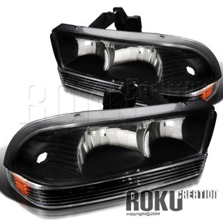 Black 98 04 Chevy Blazer S10 Pickup Headlights Lamps Parking Bumper