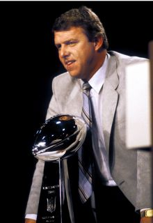 Bill Parcells New York Giants Super Bowl 8x10 with Lombardi Trophy