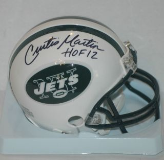 Curtis Martin signed New York Jets Mini Helmet HOF 2012 Insc COA