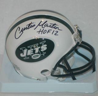 Curtis Martin signed New York Jets Mini Helmet HOF 2012 Insc COA