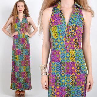 Vtg 70s DRAPED Floral DEEP V Boho MAXI DRESS Disco GOWN Hippie