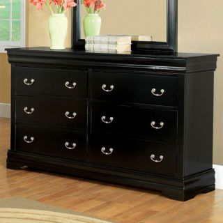 Laurelle II Solid Wood Black Finish Bedroom Dresser