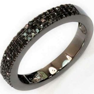 10K Black Gold Black Diamond Emmy Mens Ladies Comfort Wedding Band