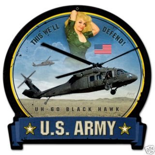 Black Hawk UH60 US Army Helicopter Vintage Tin Sign