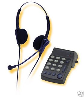 New Binaural Corded Phone Headset Phone Dialer Keypad