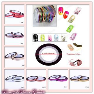 New 30 Colors Rolls Striping Tape Line Nail Art Decals Tips Decoration