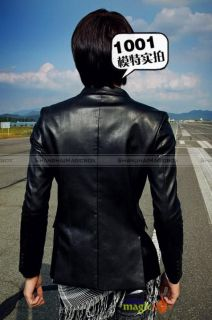 Fashion Slim Fit Faux Leather Short Coat Jacket Black Brown MCOAT065