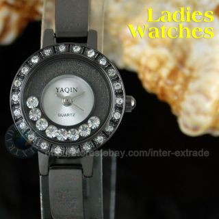 Black Steel Crystal Lady Dress Bracelet Wrist Watch