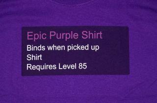 Purple Shirt World of Warcraft Blizzard Video Game T Shirt Tee