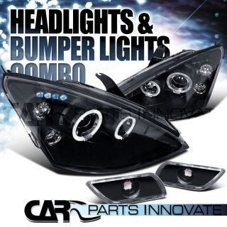 2000 2004 FORD FOCUS BLACK HALO PROJECTOR HEADLIGHTS BUMPER LAMPS