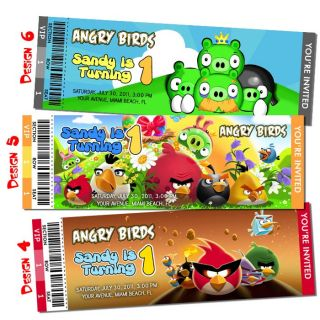 Angry Birds Invitation Birthday Party Ticket Customized