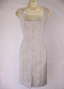 Tahari Billy Ivory Gray Scoop Neck Jeweled Cocktail Evening Dress 12