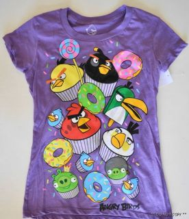 NEW JUNIORS WOMENS SLIM FIT ANGRY BIRDS T SHIRT TOP CUPCAKES