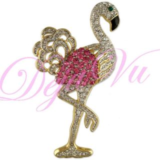 Crystal Pink Flamingo Gold Bird Pin Brooch Made with Swarovski