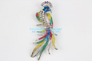 Austrian Rhinestone Crystal Stylish Peacock Bird Brooch Pin