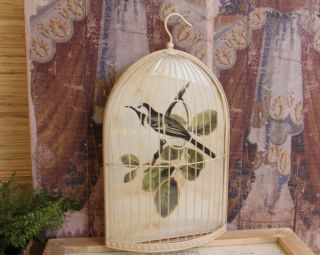 Shabby Cottage Chic Bird Cage Print Home Decor Wall Art