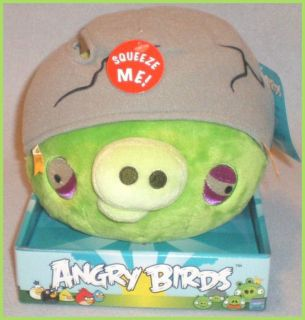 new with tag 8 green pig with helmet angry birds plush toy with sound