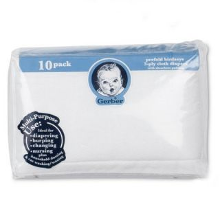 Gerber 10 Pack Prefold Birdseye 3 Ply Cloth Diapers with Padding White